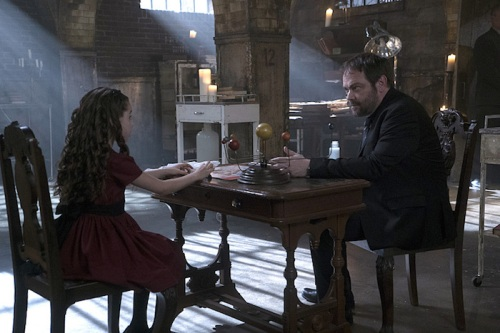 "Supernatural -- ""The Bad Seed"" -- Image SN1101A_0099.jpg -- Pictured (L-R): Gracyn Shinyei as Amara and Mark Sheppard as Crowley -- Photo: Katie Yu /The CW -- © 2015 The CW Network, LLC. All Rights Reserved."