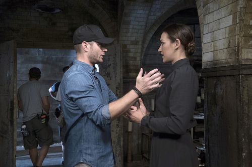 "Supernatural -- ""The Bad Seed"" -- Image SN1101A_0308.jpg -- Pictured (L-R): Behind the scenes with Director Jensen Ackles and Tasya Teles -- Photo: Katie Yu /The CW -- © 2015 The CW Network, LLC. All Rights Reserved."
