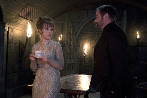 "Supernatural -- ""The Devil in The Details"" -- Image SN1110A_0045 -- Pictured (L-R): Ruth Connell as Rowena and Mark Sheppard as Crowley -- Photo: Katie Yu/The CW -- © 2016 The CW Network, LLC. All Rights Reserved."